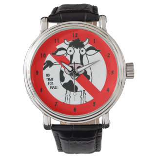 "Cartoon bull. ""No time for bull!"" Clock. Wrist Watches"