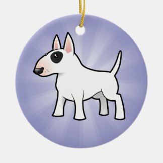 Cartoon Bull Terrier (add your own message) Christmas Ornament