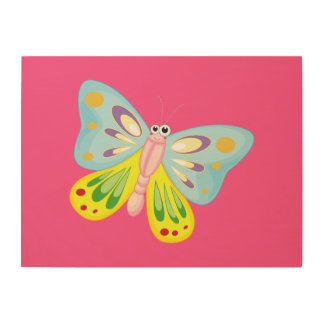 Cartoon Butterfly Wood Canvas