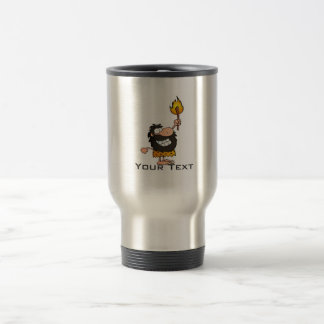 Cartoon Caveman; Metal-look Travel Mug
