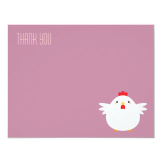 Cartoon Chicken (white) | Flat Thank You Note Card