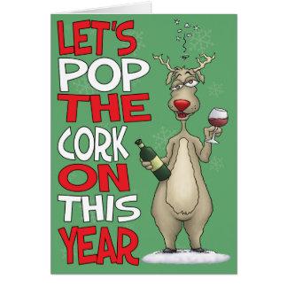 Cartoon Christmas Card: Pop the Cork Card