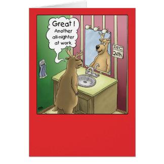 Cartoon Christmas Card: Working Christmas Eve Card