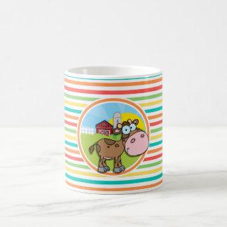 Cartoon Cow Bright Rainbow Stripes Coffee Mug