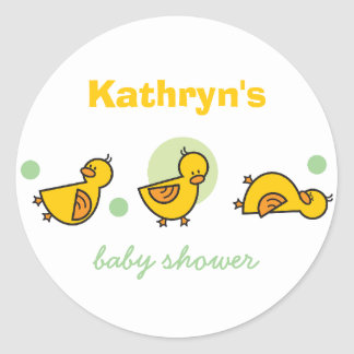 Cartoon Cute Duckies Baby Shower Gift Tag Sticker