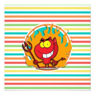 Cartoon Devil Bright Rainbow Stripes Invitation
