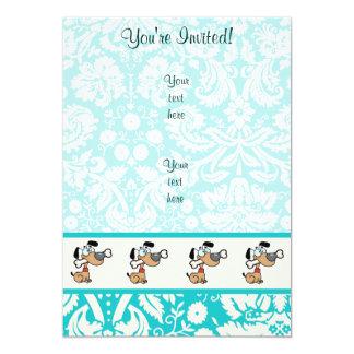 Cartoon Dog; Cute 5x7 Paper Invitation Card