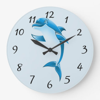 Cartoon Dolphin Large Clock