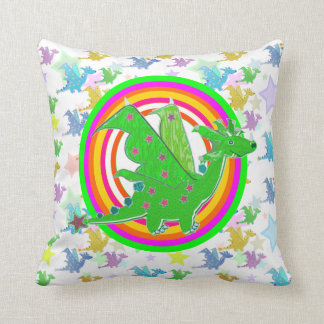 Cartoon Dragon Color Rings Dragons Pattern Pillow