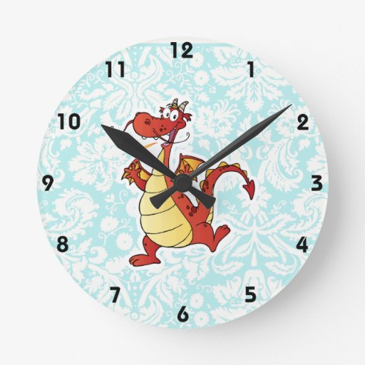 Cartoon Dragon; Cute Round Wallclocks