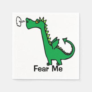 Cartoon Dragon Fear Me Paper Napkin