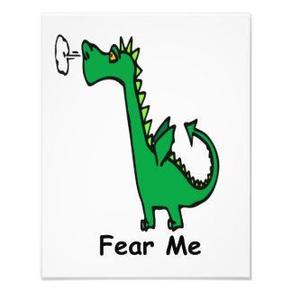 Cartoon Dragon Fear Me Photo Print