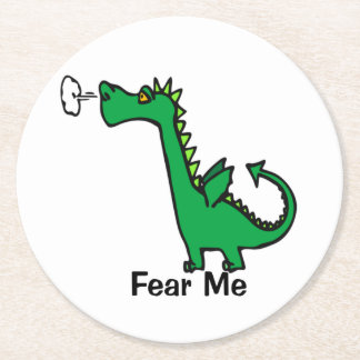 Cartoon Dragon Fear Me Round Paper Coaster