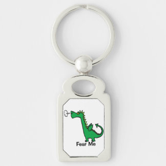 Cartoon Dragon Fear Me Silver-Colored Rectangle Key Ring
