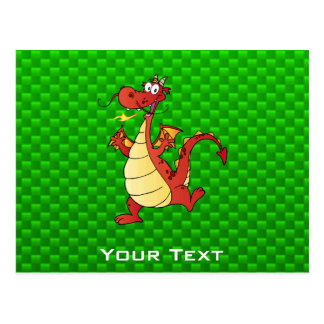 Cartoon Dragon; Green Post Card