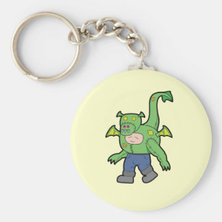 Cartoon Dragon Kid Basic Round Button Key Ring