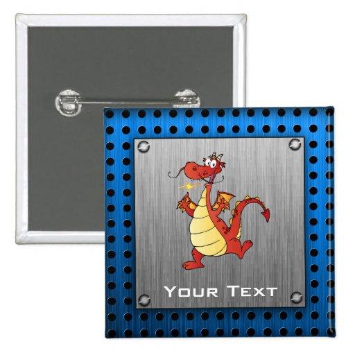Cartoon Dragon; Metal-look Pinback Buttons