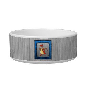 Cartoon Dragon; Metal-look Cat Bowl