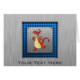 Cartoon Dragon; Metal-look Greeting Card