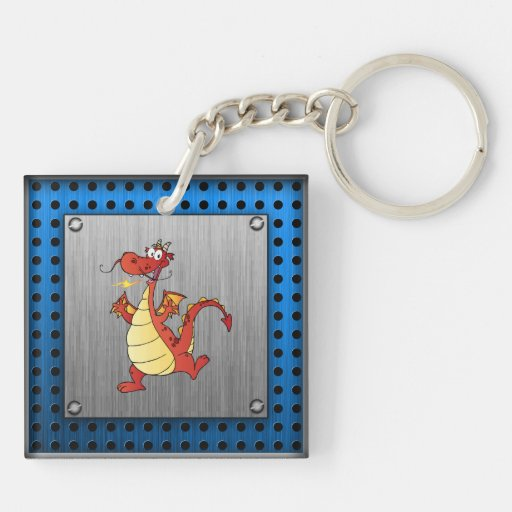 Cartoon Dragon; Metal-look Key Chains