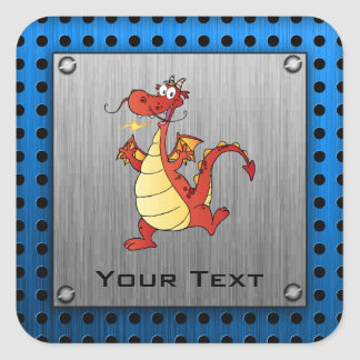 Cartoon Dragon; Metal-look Square Sticker