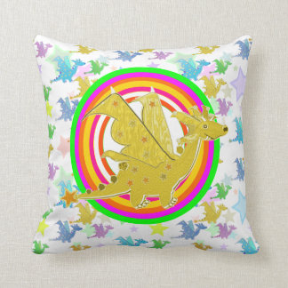 Cartoon Dragon Neon Color Rings Dragons Pattern Throw Pillow