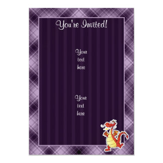 Cartoon Dragon; Purple 13 Cm X 18 Cm Invitation Card