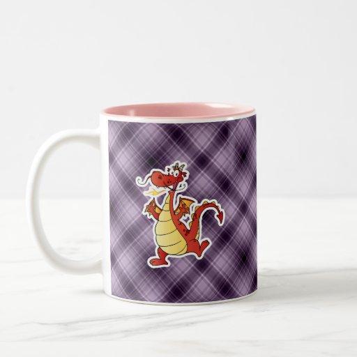 Cartoon Dragon; Purple Mugs