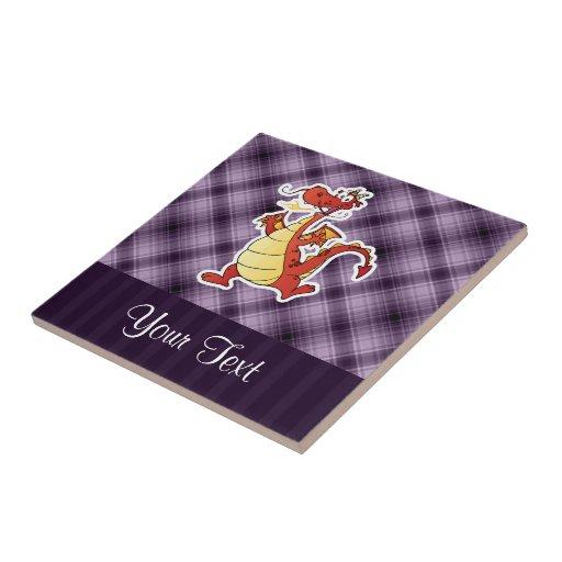 Cartoon Dragon; Purple Ceramic Tiles