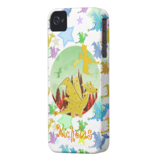 Cartoon Dragons Pattern customizable name Nicholas iPhone 4 Case