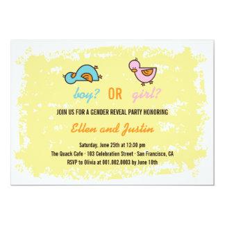 Cartoon Ducks Baby Boy Girl Gender Reveal Party 13 Cm X 18 Cm Invitation Card