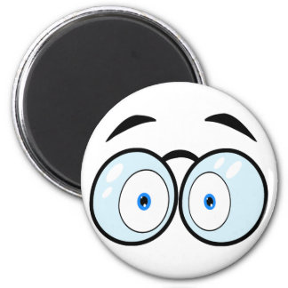 Cartoon Eyes With Glasses 6 Cm Round Magnet