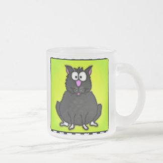Cartoon Fat Cat Frosted Glass Mug