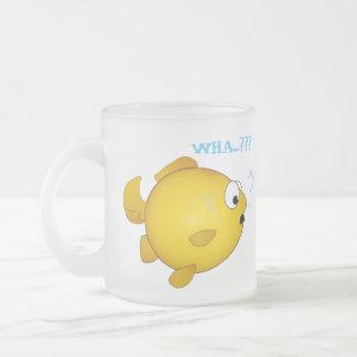 Cartoon FiSH tooting, frosted glass mug