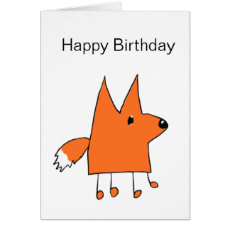 Cartoon Fox Birthday Card