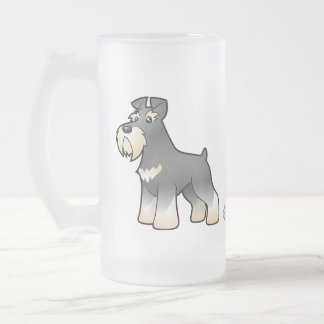 Cartoon Giant/Standard/Miniature Schnauzer Frosted Glass Mug