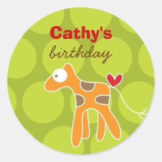 Cartoon Giraffe Kid Custom Favors Label Sticker