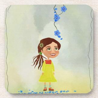 cartoon girl and blue flowers Coaster