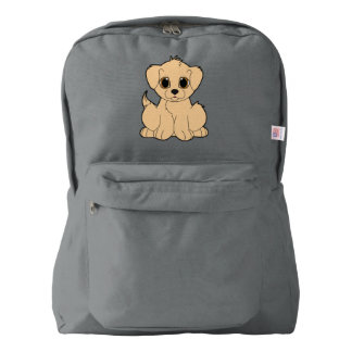 Cartoon Golden Retriever Puppy Backpack