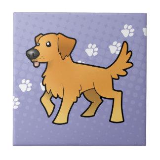 Cartoon Golden Retriever Tile