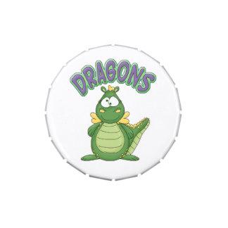 Cartoon Green Dragon Custom Birthday Party Favor Jelly Belly Candy Tin