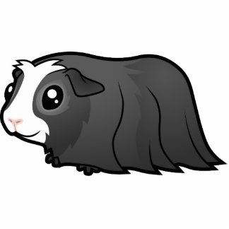 Cartoon Guinea Pig (long hair) Photo Sculpture Magnet
