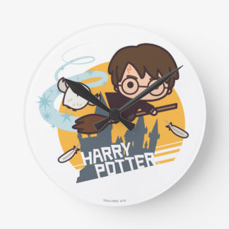 Cartoon Harry and Hedwig Flying Past Hogwarts Round Clock