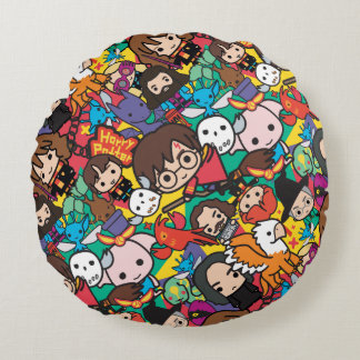 Cartoon Harry Potter Character Toss Pattern Round Cushion