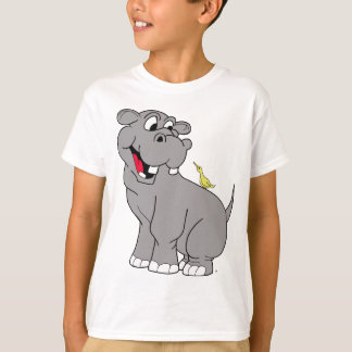 Cartoon Hippo and Bird Buddy T-Shirt