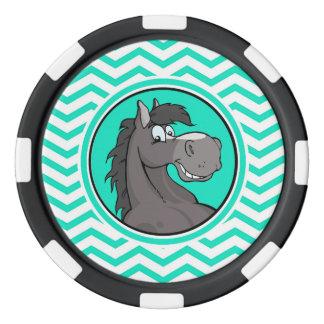 Cartoon Horse; Aqua Green Chevron Poker Chips