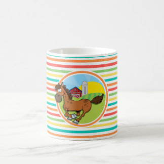 Cartoon Horse Bright Rainbow Stripes Coffee Mug