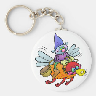 Cartoon illustration of a gnome riding an bee. key ring