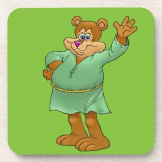 Cartoon illustration of a waving bear. drink coasters