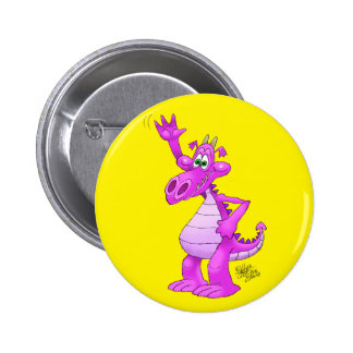 Cartoon illustration of a waving purple dragon. 6 cm round badge